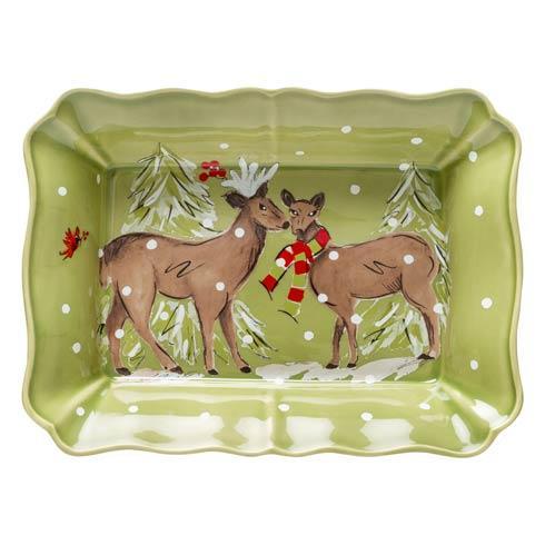 """Casafina  Deer Friends Rect. Baker 14"""" Green $78.50"""