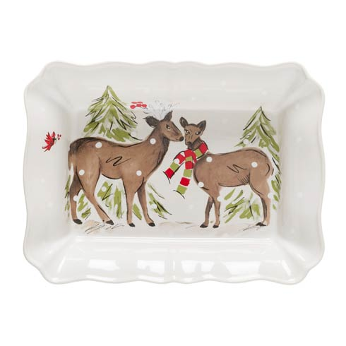 Casafina  Deer Friends Large Rect. Baker White $75.00