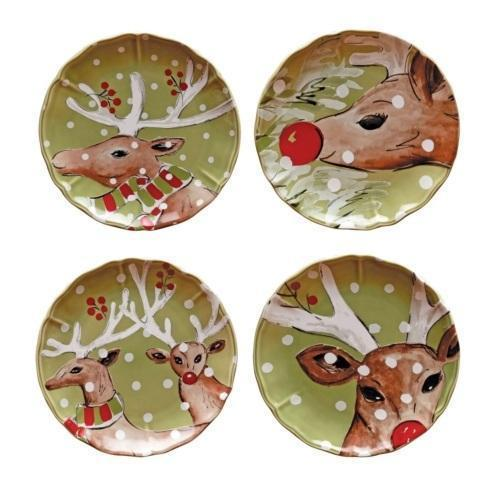 "Casafina  Deer Friends Set 4 Salad Plates 9"" Green $111.00"