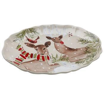 """Casafina  Deer Friends Oval Platter 20"""" Linen $106.00"""