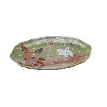 """Casafina  Deer Friends Oval Platter 13"""" Green $54.50"""