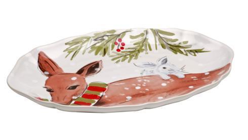 Deer Friends Sm. Oval Platter White