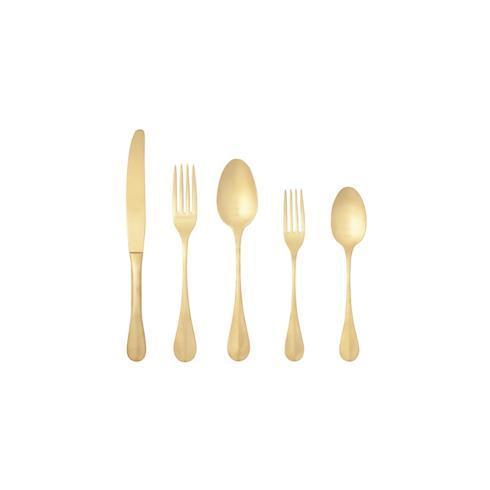 $81.00 Flatware 5 Pieces Brushed Gold