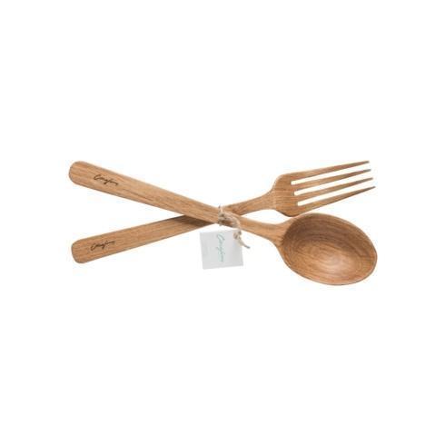 $28.00 Oak Wood Spoon and Fork Set