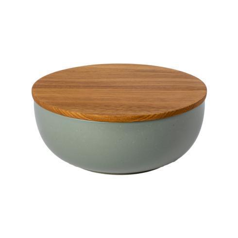 "Casafina  Pacifica - Artichoke Serving bowl 10"" w/ Oak Wood Lid/Cutting Board $75.00"