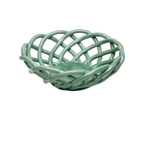 $53.00 Medium Round Basket, Turquoise