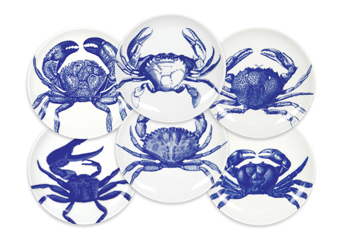 Caskata  Crabs & Nets - Blue Canapes Mixed Boxed Set/6 $110.00
