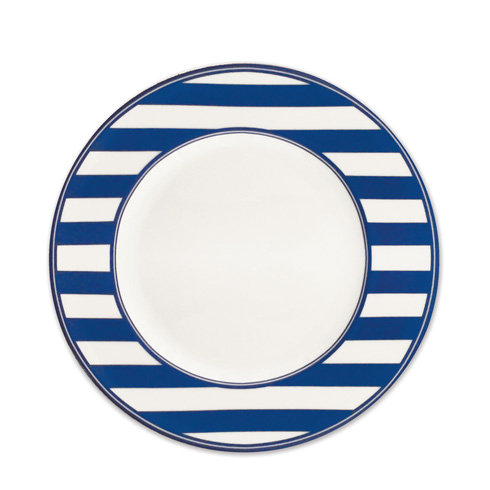 "$35.00 Beach Towel Stripe (BLU) 11"" (Rimmed) Dinner Plate"