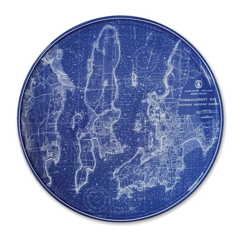 "$80.00 Chart (BLU)  - Narragansett including Newport (RI) 12.25"" Platter"