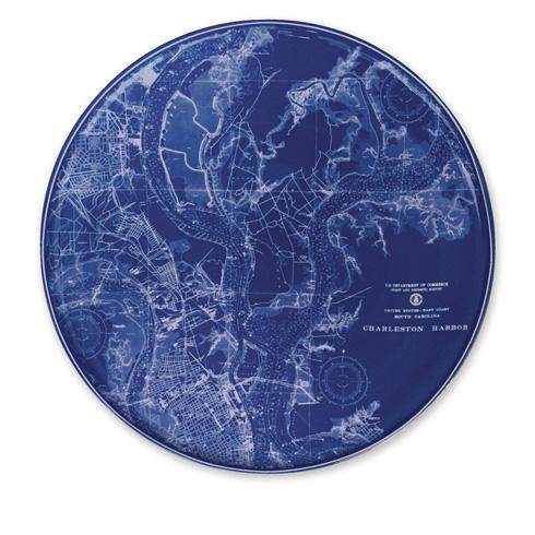 """$80.00 Chart (BLU)  - Charleston Harbor 12.25"""" Platter"""