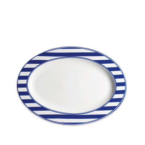 $80.00 Blue 14 In Rim Oval Platter
