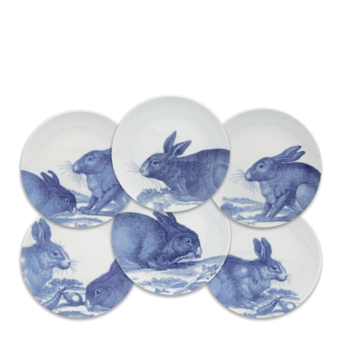 Caskata  Rabbits - Blue Canapes Mixed Boxed Set/6 $110.00
