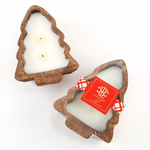 $20.00 NOEL 2 WICK CANDLE IN A WOODEN TREE BOWL - preorder