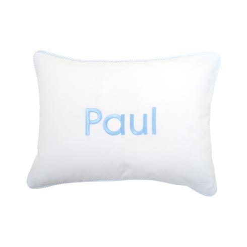 $65.00 Personalized Blue Seersucker Stripe Baby Pillow