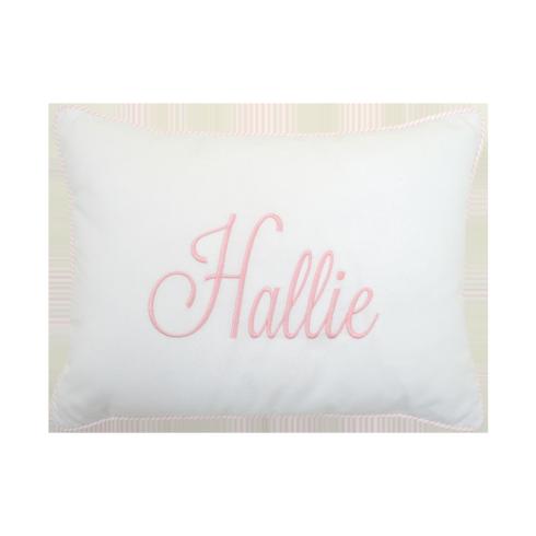 Personalized Pink Seersucker Stripe Baby Pillow