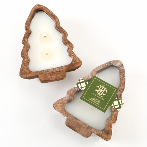 $20.00 NOBLE FIR 2 WICK CANDLE IN A WOODEN TREE BOWL -- preorder