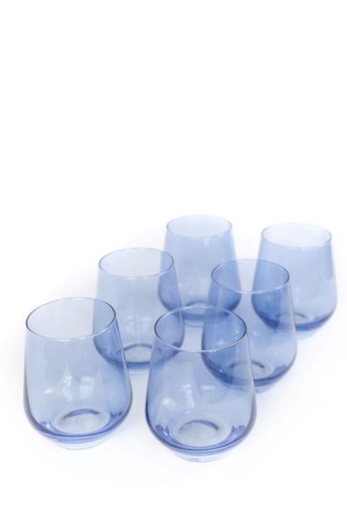 Estelle Colored Glass   Wine Stemless Cobalt set/6 $160.00