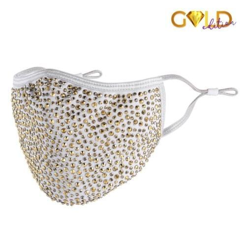 $22.50 Designer Mask - White with Gold Crystals