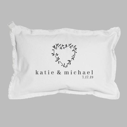 $100.00 Personalized Name + Date Heart Laurels Lumbar Pillow White