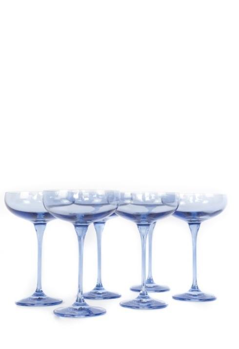 Estelle Colored Glass   Champagne Coupe Cobalt set/6 $195.00