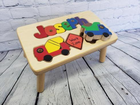 $85.00 Childs Step Stool With Puzzle Name & Construction Design