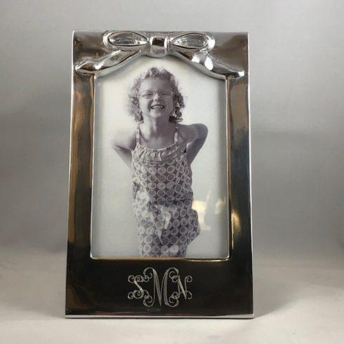 $75.00 Monogrammed Bow Picture Frame 4x6 Veritical
