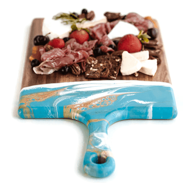 $89.95 Acacia Resin Cheeseboards: Teal/White/Gold / Large 10