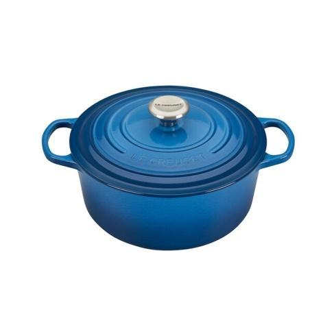 $370.00 5.5 Quart Round Dutch Oven Marseille Blue