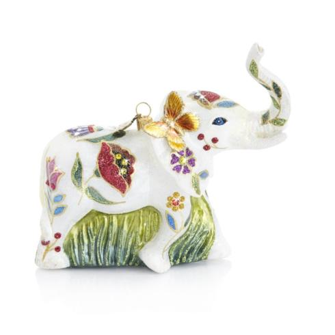 $185.00 Floral Elephant Glass Ornament