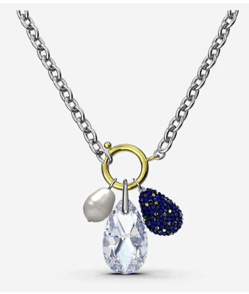 $149.00 THE ELEMENTS NECKLACE, BLUE, MIXED METAL FINISH