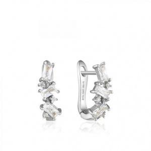 $49.00 Cluster Huggie Earrings Silver