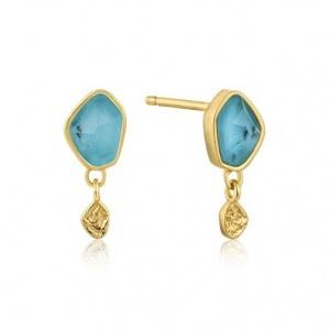 $39.00 Turquoise. Drop Stud Earrings Gold
