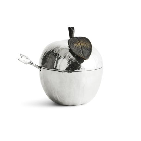 $95.00 Apple Honey Pot with Spoon Nickelplate