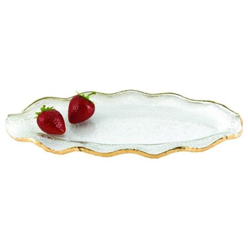 """Gold Edge Wavy Oval Handpainted Mouth-Blown Glass 14"""" x 7"""" Platter"""