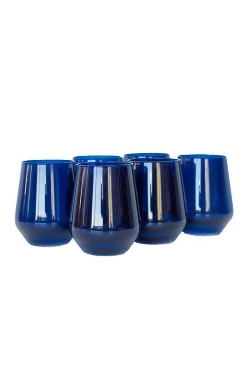 $160.00 Midnight Blue Stemless Wine Glasses set/6
