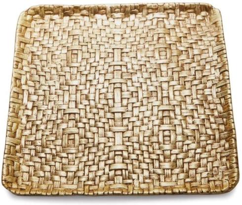 $125.00 Palm Gold Matza Plate (Square Platter)