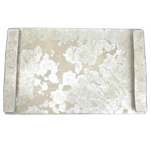 $275.00 Borealis White with Platinum Handled Tray