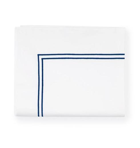 $170.00 Grand Hotel White / Navy King Flat Sheet