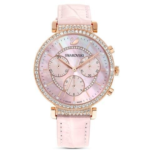 $379.00 Passage Chrono Watch, Leather strap, Pink, Rose-gold tone PVD