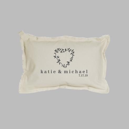 $100.00 Personalized Name + Date Heart Laurels Lumbar Pillow Natural