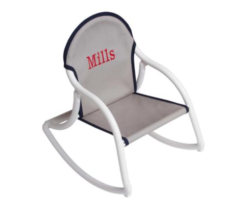 $61.50 Personalized Childrens Rocking Chair - Grey Canvas / Blue Trim