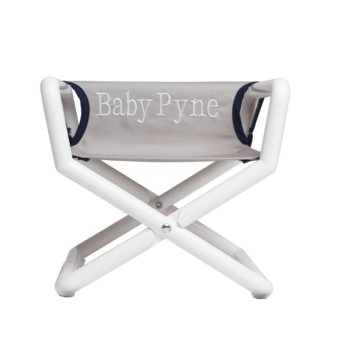 $49.50 Personalized Kids Junior Directors Chair - Grey Canvas blue trim