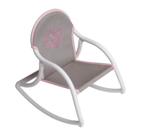 $61.50 Personalized Childrens Rocking Chair - Grey Canvas / Pink Trim