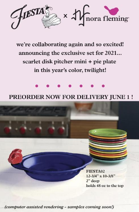 "***** Pre-Order**** New ""Fiesta"" FiestaWare Pie Plate with red Disk Pitcher Mini"