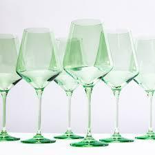 Estelle Colored Glass   Colored Wine Stemware mint green set/6 $149.99