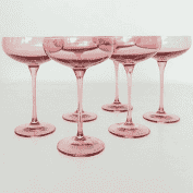 Estelle Colored Glass   Champagne Coupe Rose set of 6 $169.95
