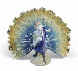 $2,500.00 Cherub On A Peacock 11X14