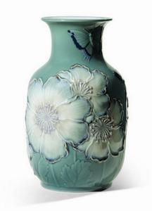 $1,600.00 Poppy Flowers Vase Tall Green