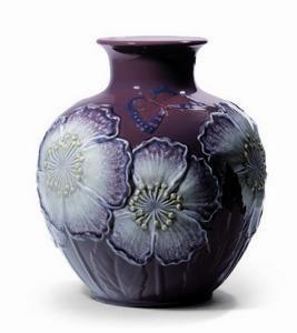 "$1,600.00 Poppy Flowers Vase Purple 11"" H"