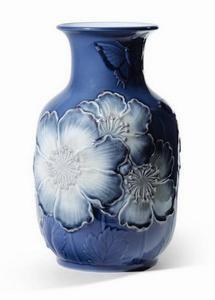 $1,600.00 Poppy Flowers Vase Tall Blue